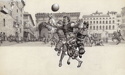 Playing football in Florence